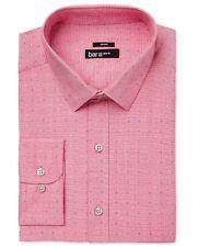 NWT $95 BAR III Men SLIM-FIT STRETCH PINK WHITE COLLAR DRESS SHIRT 16-16.5 34/35