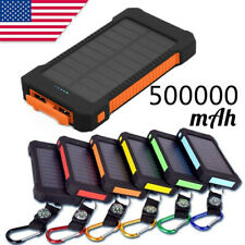 Waterproof Solar Power Bank 500000mAh Outdoors 2USB Battery Mobile Phone Charger