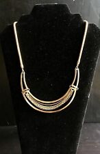 Vtg JewelMint Resort Plate Statement Necklace Snake Rolo Curb Chain Gold Tone