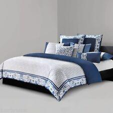 3-Pc Natori Blue Porcelain Queen Duvet Set Modern White Floral Fretwork Asian