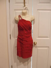NWT NWT CITY TRIANGLES RED ONE SHOULDER ruched  prom/party dress size jr LARGE