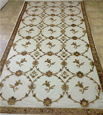 Italian Embroidered Ready Made Sheer Framed Gold Lined Curtains