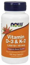 NOW Foods Vitamin D-3 and K-2 120 Veg Capsules