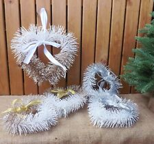 White & Gold / Silver Glitzy Glitter Heart Door Wreath Christmas Tree Decoration