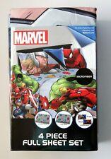 Marvel Avengers 4 Piece Full Sheet Set (New)