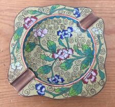 Antique Handcrafted Cloisonne Copper Brass Chinese Floral Yellow Ashtray Dish