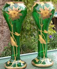 ANTIQUE ART PAIR GLASS VASE SIGNED C1890 FRITZ HECKERT LOETZ LEGRAS BOHEMIAN ERA