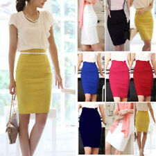 Womens Ladies Stretch Bodycon Midi Office High Waist Pencil Plus Size Skirt AU