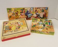 Vintage West Germany Wooden Fairy Tales Picture Puzzle Blocks in Snow White Box