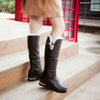New Womens Warm Knee High Boots Fur Lined Snow Pull on Hidden Wedge Casual Shoes