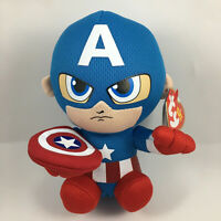 """TY Beanie Baby 6"""" CAPTAIN AMERICA Marvel Plush Animal Toy with Ty Heart Tags"""