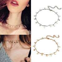 Cute Simple Choker Necklace Tiny Star Chain Gold Silver Women Jewelry Xmas Gift
