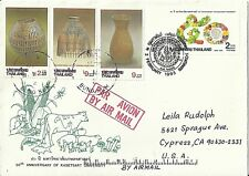 THAILAND Stamps:  1995 Katseret Univ. Air Mail Cover to Cypress, California, USA