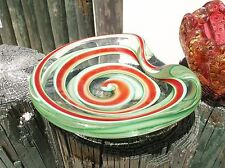 Mint candy cane 50s Murano glass swirl shallow bowl