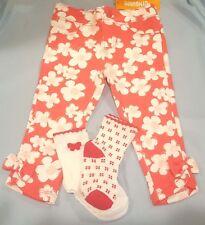NWT GYMBOREE GIRLS PANTS SOCKS RED WHITE FLORAL SET 12-18 MONTHS