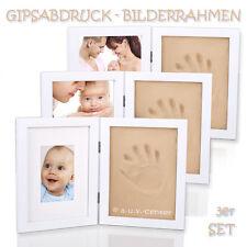 3 Bilderrahmen Gipsabdruck Baby Fuß Hand Kind Fotorahmen Taufe Abdruck Set m. M.