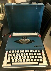 VINTAGE RETRO 1970's IMPERIAL 220 BLUE & GREY TYPEWRITER