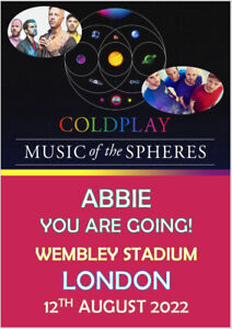 Personalised Coldplay Tickets Card Tour 2022 Show Concert A5