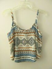 Body Central Size Medium Cream Orange Geometric Festival Boho Crop Top Shirt M