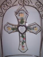 "Floral Cross & Stand Angel, Real Stained Glass Heart with Angel,9"" T x 7""W 2600"