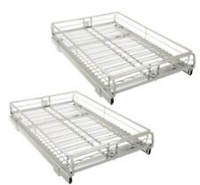 PAIR (2) EXPANDABLE SLIDE-OUT CABINET ORGANIZERS - PULL OUT SLIDING SHELVES, NEW