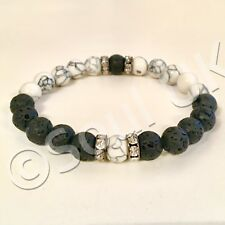 White Natural Howlite & Black Lava Stone & Crystal Beaded Yin & Yang Bracelet