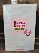 """New Easter Spring Vinyl Tablecloth Flannel Back Thick Heavy Green Eggs 52 x 70"""""""