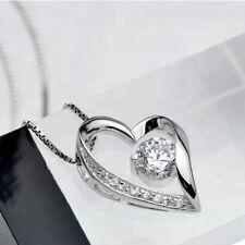 Damen Halskette Herz Zirkonia Weiss Anhänger Frauen Schmuck Kette 925 Silber