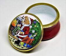 STAFFORDSHIRE ENAMEL BOX - TEDDY BEAR SANTA CLAUS - FIREPLACE & CHRISTMAS TREE