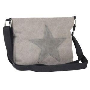 Damen Stern Tasche Grau Star Canvas- Stoff Umhängetasche Stofftasche Unisex NEU