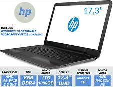 NOTEBOOK HP G6 17.3 UHD A9-9410 RAM 8GB DDR4 1TB RADEON R5 PC PORTATILE GARANZIA