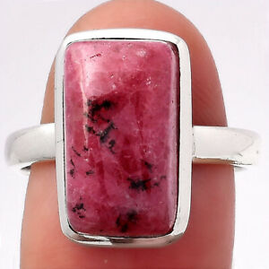 Natural Rhodonite 925 Sterling Silver Ring s.8 Jewelry 2958