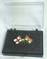 England & India Friendship Flags Enamel Lapel Pin Badge In Box