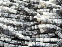"5mm MERLINITE / DENDRITIC AGATE CUBES, 16"" strand, 75 beads"