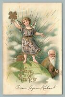 Clover Girl on Globe Map w Father Time—Antique New Years Postcard Embossed 1906