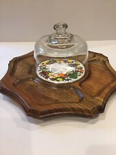 Vintage octagonal lazy susan wood serving / cheese / hors d'oeuvres tray Japan