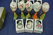 Handpainted Eggs, Lot Of 8, With 5 Brass Stands