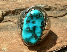 vin NAVAJO AUG. LARGO STERLING & MORENCI TURQUOISE MENS RING SIZE 12 - TERRIFIC