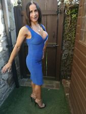 LADIES ~ MISSGUIDED ~ BLUE HEAVY BANDAGE BODYCON WIGGLE PARTY DRESS ~ UK 10