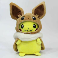 Pokemon Eevee Poncho Caped Pikachu  Plush Doll Soft Stuffed Toy Fans Gift- 8 In