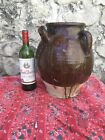 Antique FRENCH Brown Gargoulette Cruche Water Jug CONFIT Pot POTTERY Stoneware