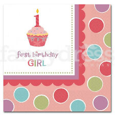 1st Compleanno Cupcake TOVAGLIOLI HAPPY BIRTHDAY PARTY PACK 16 PINK GIRL NUOVO