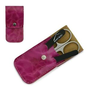 Mont Bleu 3 pcs Manicure Set in Pink Eco-Leather Case ANNA FUCHSIA Best Gift