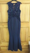 Lipsy 12 Navy Blue Floral Lace Bodice Beaded Waist Maxi Evening Dress BNWT.