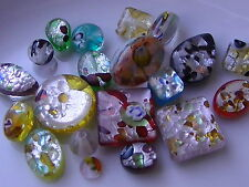 30g Mixed Colour & Shape Millefiori Silver Foil Handmade Lampwork Beads (BOX76)
