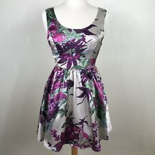 Twenty One Women's Dress sz L Lg Silver Sleeveless Cocktail Party Pink Floral
