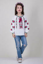 Ukrainian Embroidery Blouse For Girl with Roses Cross Size 7-12 years Vyshyvanka