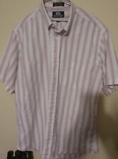 Stafford Men's  16.5 Short SleeveButton Up Mens white red stripes made in usa!!