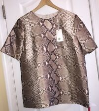 NWT $430 Tory Burch Brown Python Print Silk Short Sleeve Top Blouse Women's 8