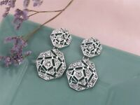 Earrings Nails Silver Filigree Octagon Art Deco Retro Class BB14